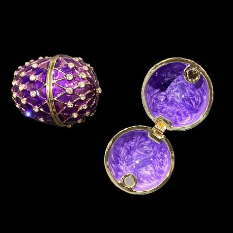 Boite oeuf style Fabergé violet émaillée