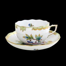 Tasse à déjeuner basse et sous tasse Victoria Herend