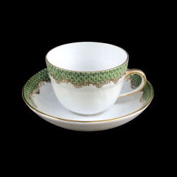 Coffee cup and saucer Herend fish scale rust