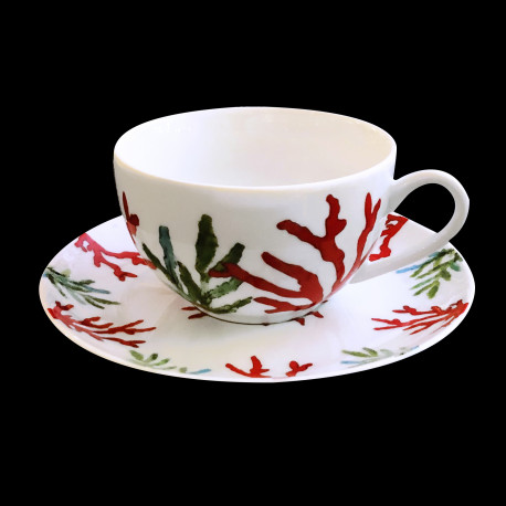 Porcelain tea cup and saucer Red Coral