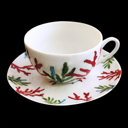 Porcelain breakfast cup and saucer Red Coral