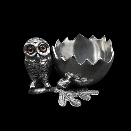 Pewter Eggcup Owl