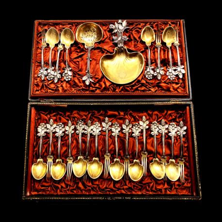 Christofle service à fraise 12 fourchettes 12 cuillères pelle de service partielement doré