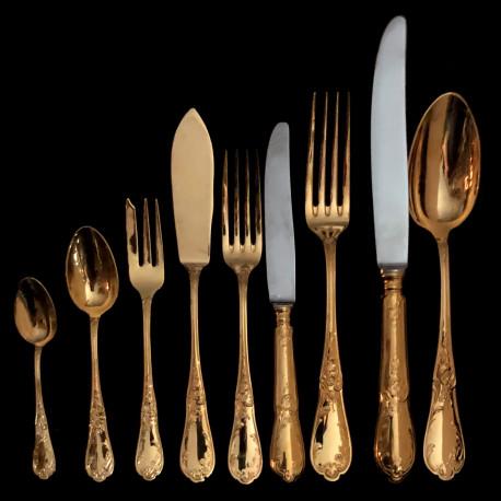 Ménagère 168 pcs Chambly métal doré XXe modèle