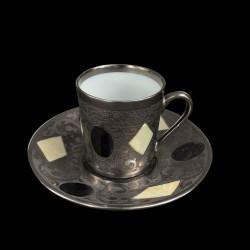 Tasse à café et sous tasse gravée collection Medicis