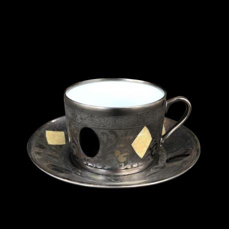 Tasse à thé et sous tasse gravée collection Medicis
