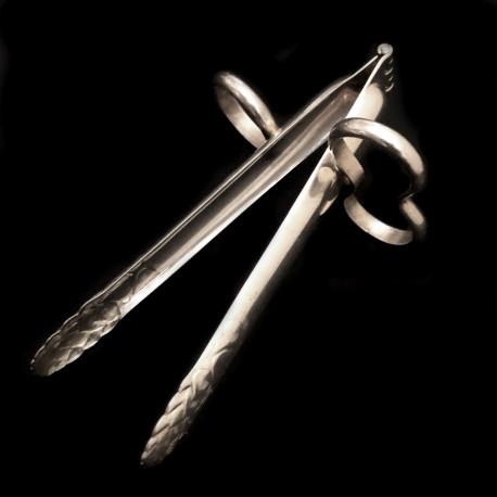 Pince à asperges ciseaux métal argenté XXe motif pointes d'asperge