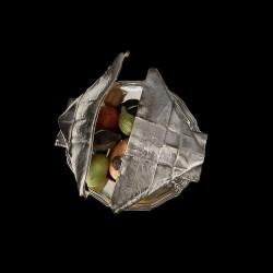 Christofle rare plat à marrons trompe l'oeil métal argenté XIXe