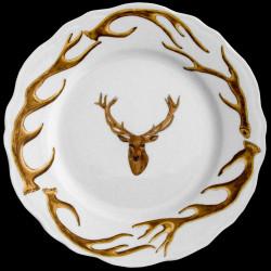 Assiette de table bois cerf et tête de cerf porcelaine de Limoges