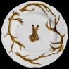 Assiette dessert bois cerf et tête de lièvre porcelaine de Limoges