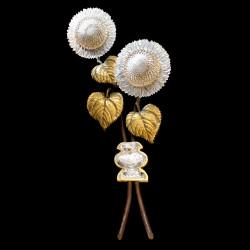 Applique Tournesol Maison Baguès, bronze et cristal, XXe s.