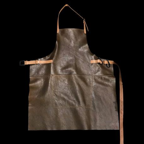 Tablier en cuir à mousquetons marron vintage