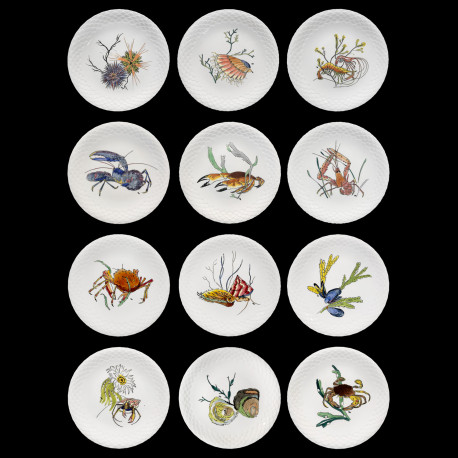 "12 dinner plates shellfishes ""Grands Crustacés"", Gien earthenware, 1961"