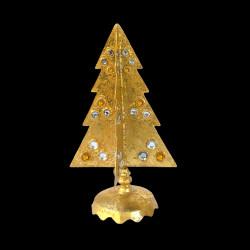 Grand sapin de Noël pierres argent et or