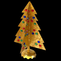 Petit sapin de Noël pierres argent et or