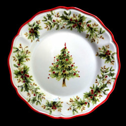Majolica Christmas tree dessert plate
