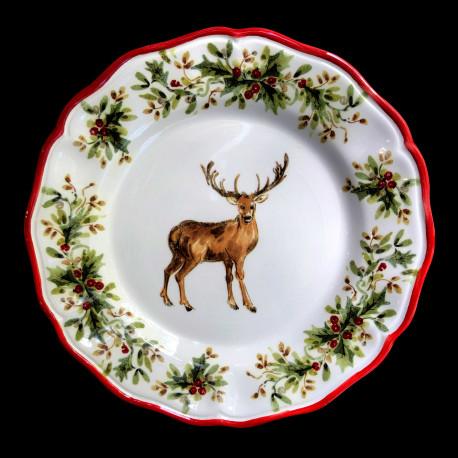 Majolica Deer dessert plate