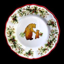 Majolica Bear dessert plate Red nose