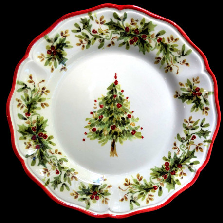 Majolica Tree dinner plate Red nose