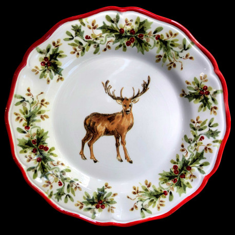 Majolica Deer dinner plate Red Nose Red nose