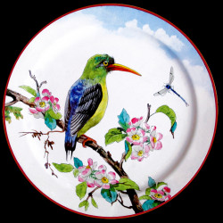 "Tin plate ""The Birds"" Kingfisher and flowers"