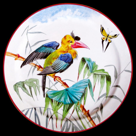 """Tin plate """"The Birds"""" Buffon Celebes hornbill"""