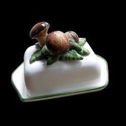 Mushrooms, butter dish