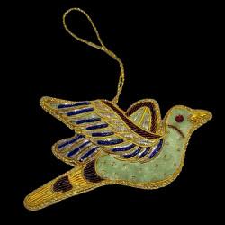 Oiseau de paradis vert brodé