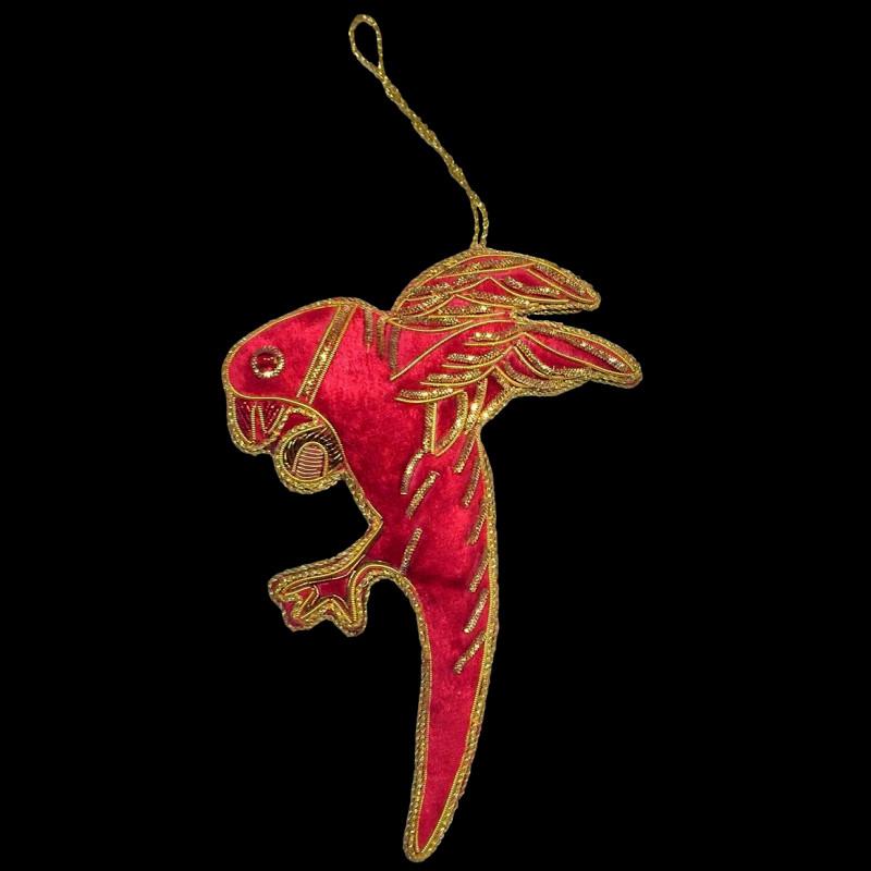 Decoration Perroquet Rouge En Velours Brode
