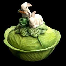 Soupière grand modèle chou et lapins