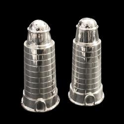 Sel et poivre Phare en métal argenté
