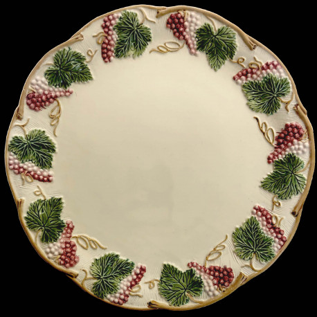 "Majolica Ivory and red fruits table plate ""Georges Sand"""