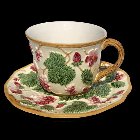 "Majolica ivory and red fruits cup and saucer ""George Sand"""