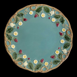 "Majolica turquoise desert plate ""Georges Sand"""