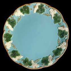 "Majolica turquoise table plate ""Georges Sand"""