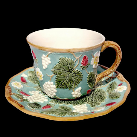 "Majolica turquoise breakfast cup and saucer ""George Sand"""
