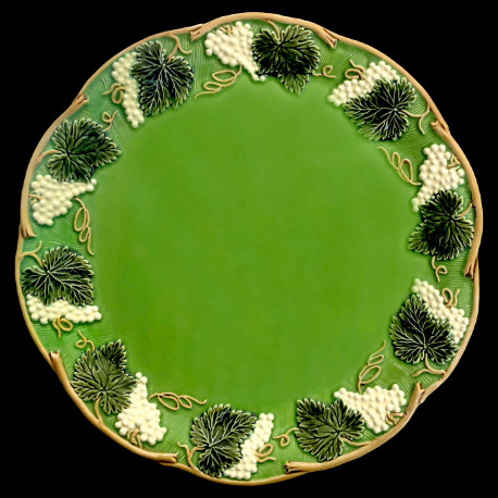 "Majolica green table plate ""Georges Sand"""