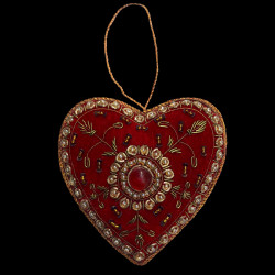 Embroidered velvet Red Heart