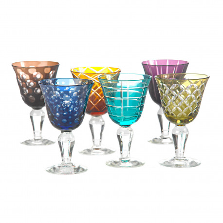 6 Assorted colored and geometric pattern wine glasses