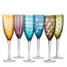 6 Flutes à champagne motif géométriques couleurs assorties