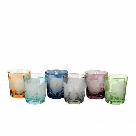 6 Assorted colored and flowers pattern water glasses