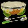 Wedgwood cucumber salad bowl with silver plated rim and salad servers circa 1880