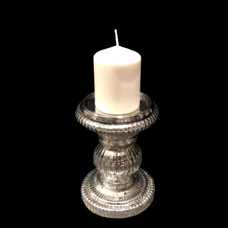 Candle holder for large silver-colored glass