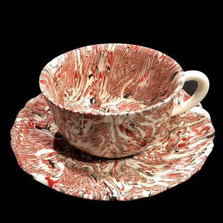 Tasse ronde et sous tasse dentelée multicolore terre mêlée collection Epice forme disque et dentelé