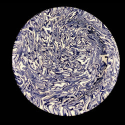 Assiette à dessert ronde terre mêlée collection Bleu forme disque