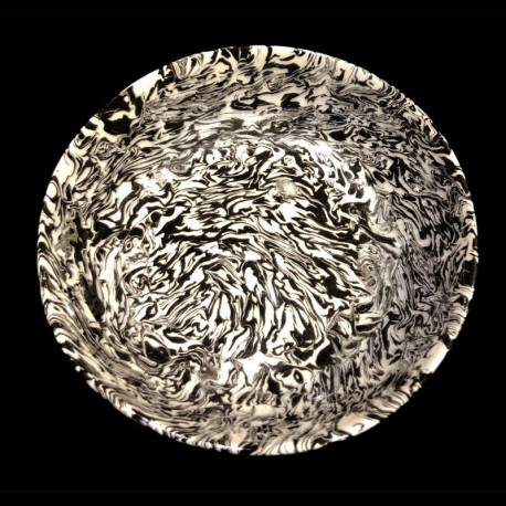 Assiette de table blanc et noir terre mêlée collection Graphite forme dentelée