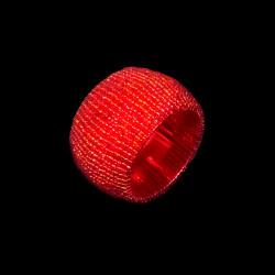 Rond de serviette perlé rouge
