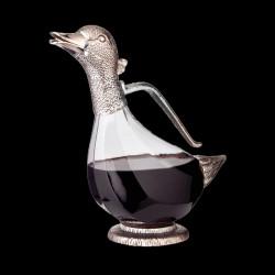 Carafe à décanter tête de canard en métal argenté
