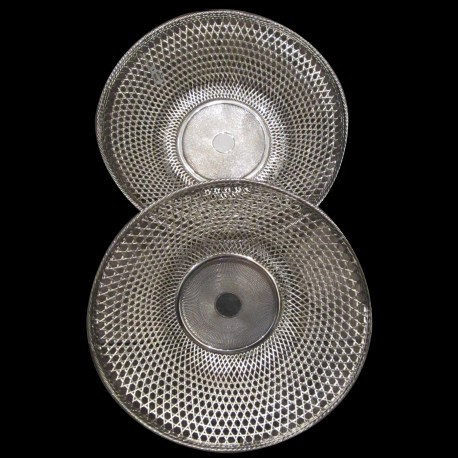 Pair of bread XIXth round basket silver plated