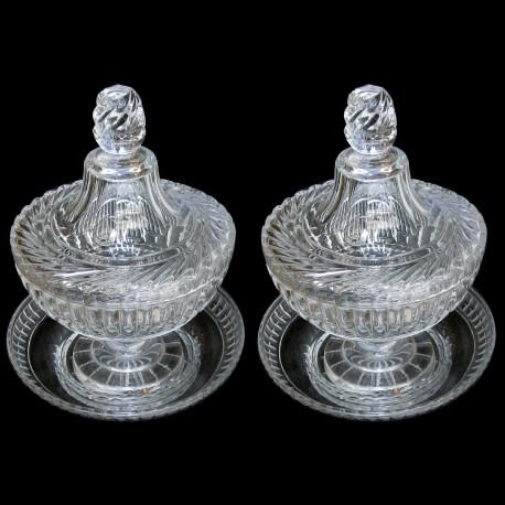 paire confiturier cristal XIXème France